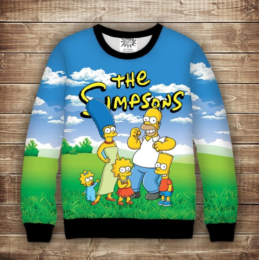 Світшот з 3D принтом на тему Сімпсони Simpsons Дорослі і дитячі розміри