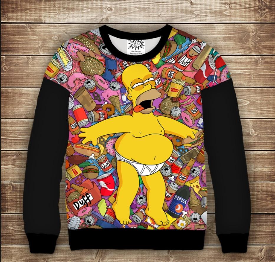 Світшот з подовженим плечем з 3D принтом на тему Homer Simpson