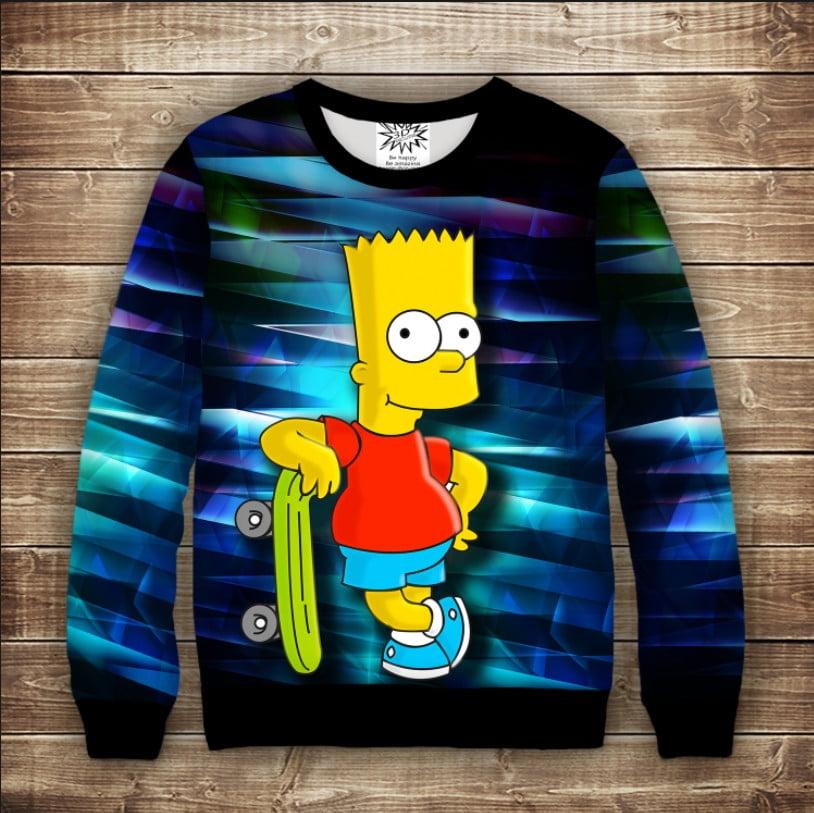 Світшот с принтом Барт Симпсон и скейт