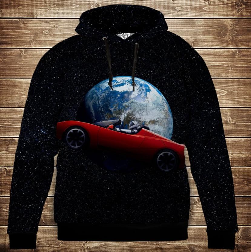 Толстовка с 3D принтом на тему: Roadster Tesla in Universe Детские и взрослые размеры