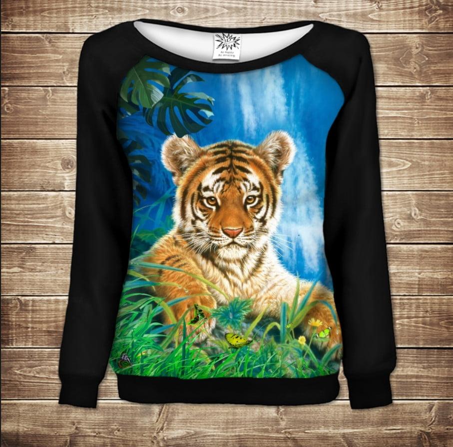 Женский свитшот - реглан с открытыми плечами с 3D принтом на тему Тигр