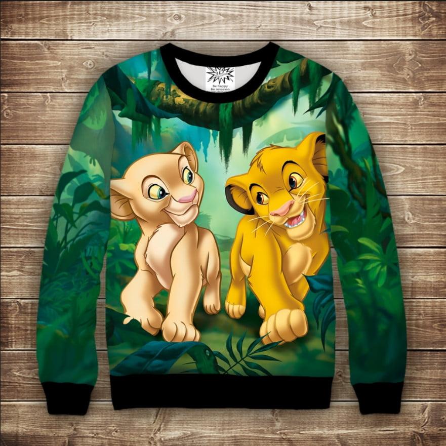 Свитшот 3D Симба и Нала. Король лев Взрослые и детские размеры