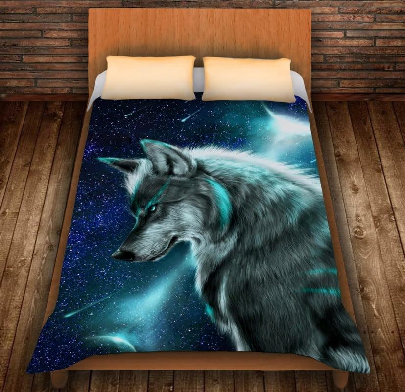 Плед с 3D принтом на тему - Wolf Cosmic Neon
