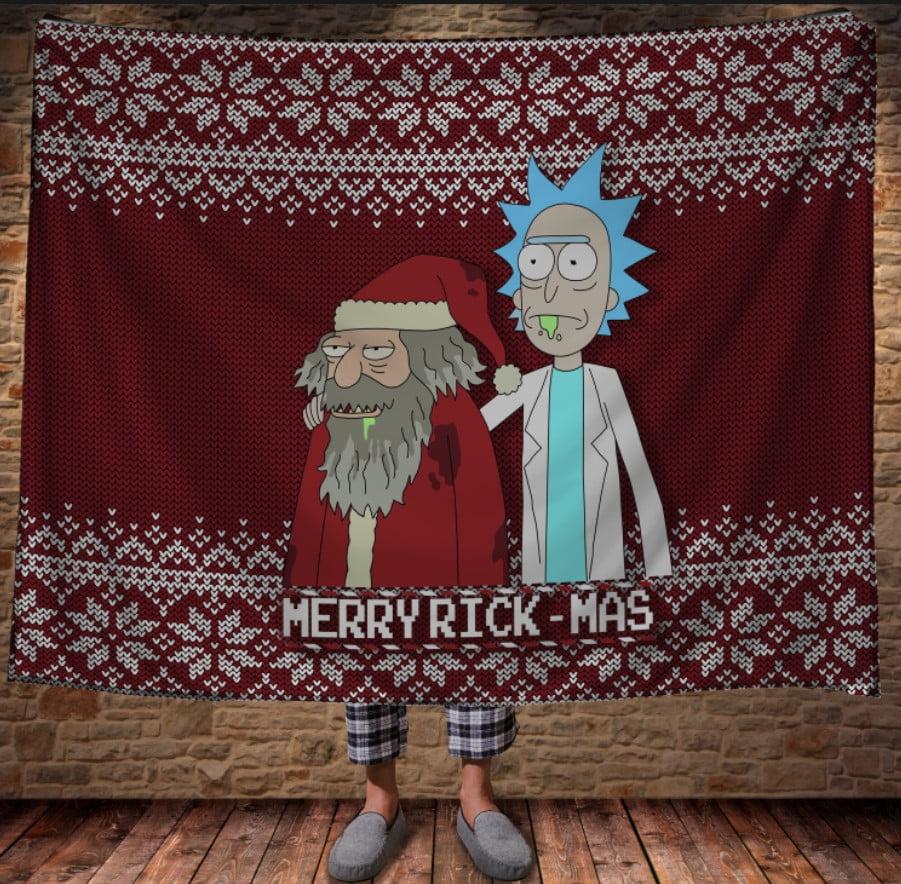 Плед с 3D принтом на тему-плед Рик и Морт Рождество