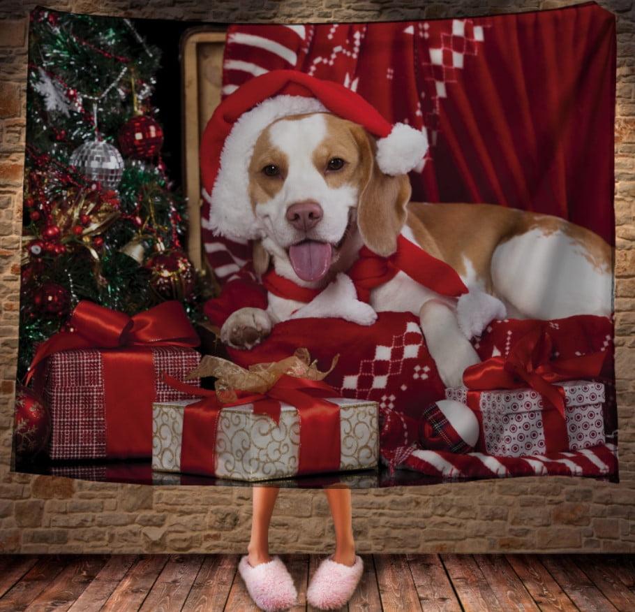 Плед с 3D принтом на тему-Новогодний милый пес