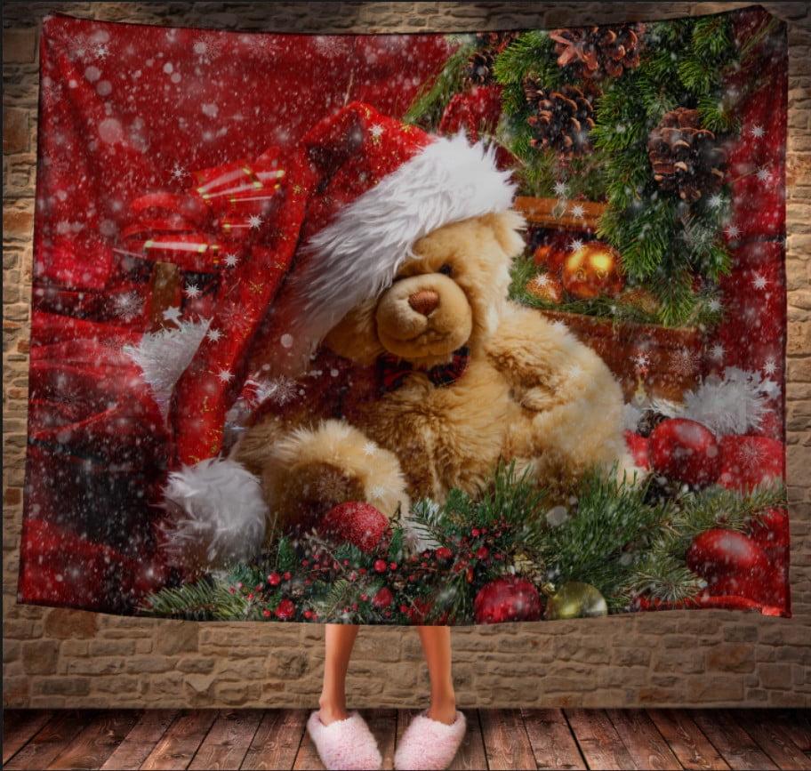 Плед с 3D принтом на тему-Рождественский мишка Тедди