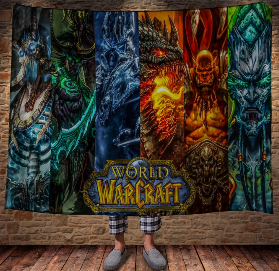 Плед с 3D принтом на тему - Мир Варкрафт герои