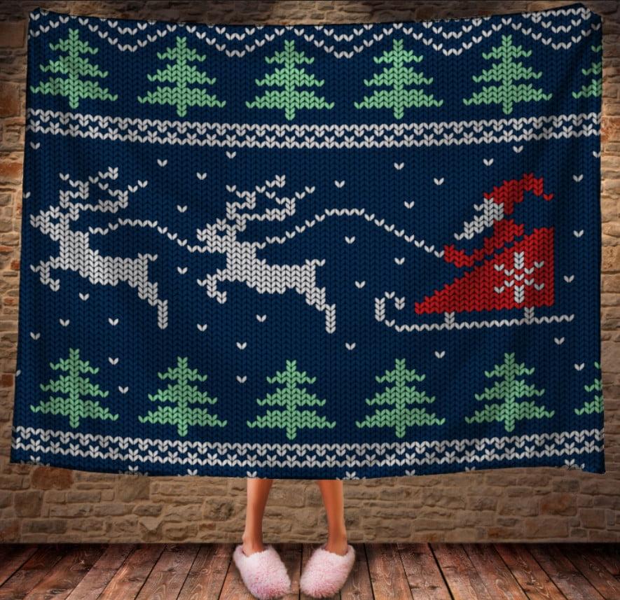 Плед с 3D принтом на тему-Санта Клаус в санях на оленях