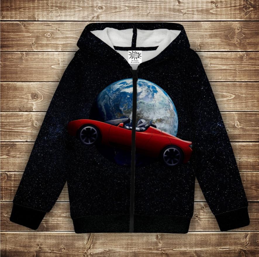 Худи с 3Д принтом на тему-Roadster Tesla in Universe Детские и взрослые размеры