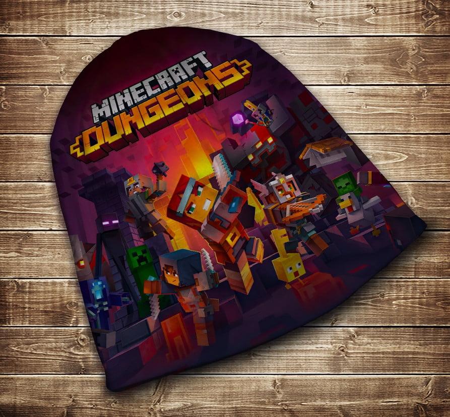 Шапка с 3D принтом на тему - Minecraft Dungeons Подземелье Все размеры и сезоны