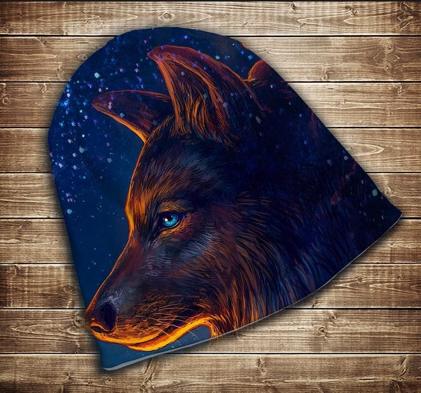 Шапка с 3D принтом на тему - Волк и звездное небо Все размеры и сезоны