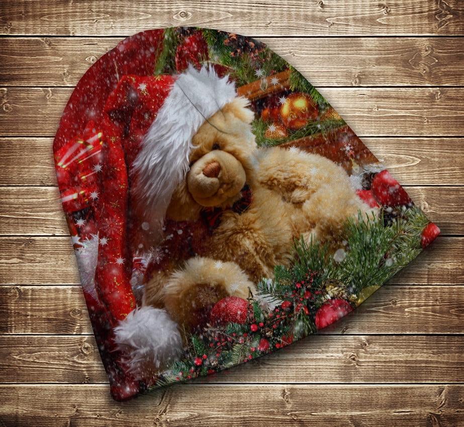 Шапка с 3D принтом на тему-Рождественский мишка Тедди Все размеры и сезоны