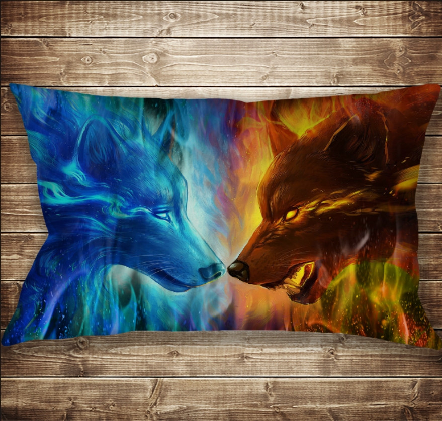 Подушка 50х70 см. C 3D принтом Wolf Colour Fire