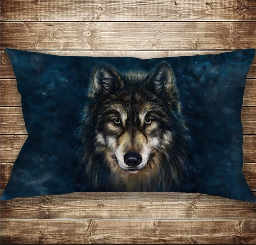 Подушка 50х70 см. C 3D принтом Wolf Face