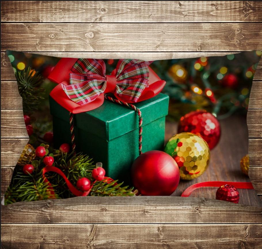 Подушка 50х70 см. C 3D принтом Новогодние игрушки и подарки