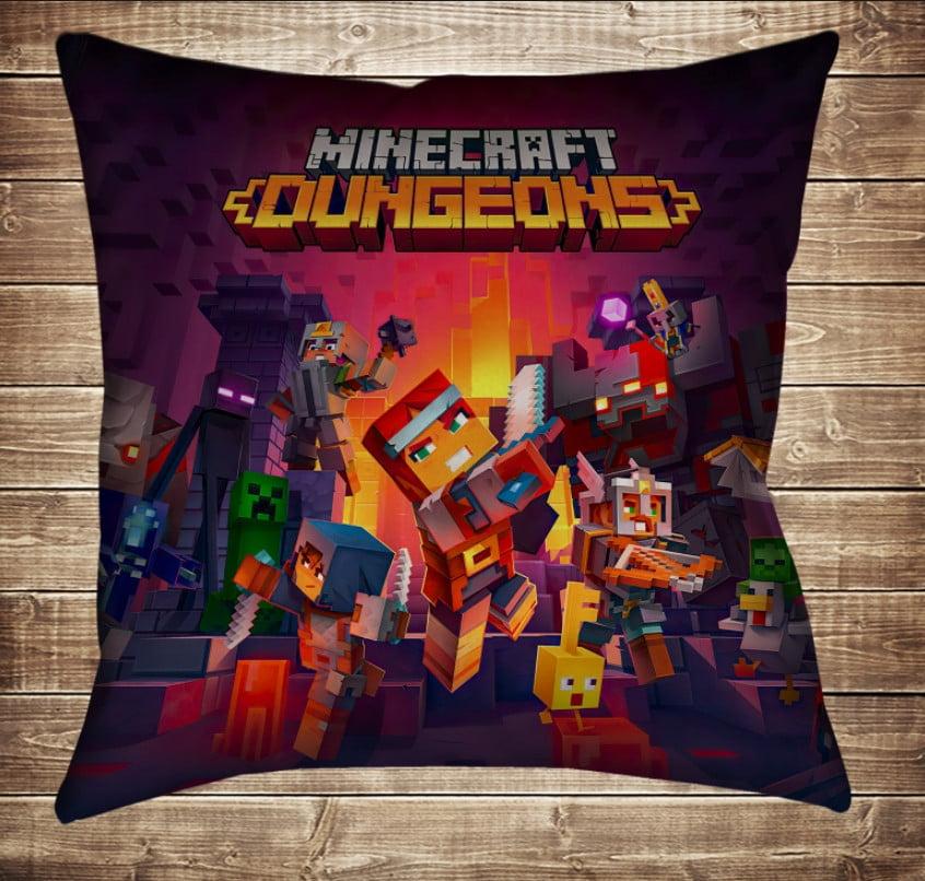 Подушка с 3D принтом Minecraft Dungeons Подземелье 70*70