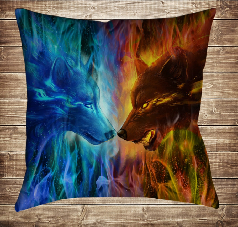 Подушка с 3D принтом Wolf Colour Fire 70*70