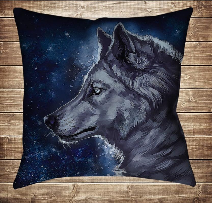 Подушка с 3D принтом Wolf Cosmic