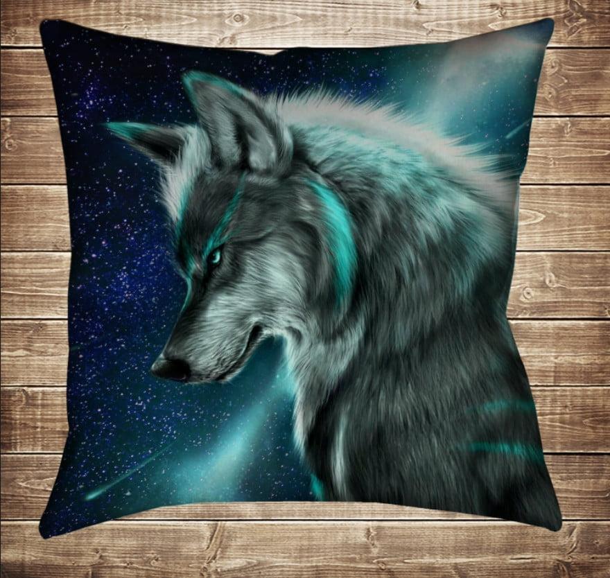 Подушка с 3D принтом Wolf Cosmic Neon 70*70