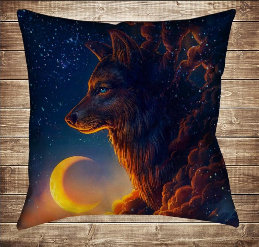 Подушка с 3D принтом Волк и звездное небо 70*70