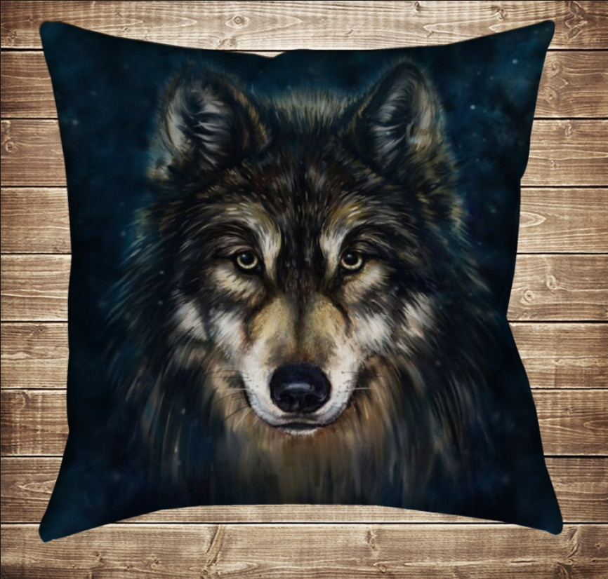 Подушка с 3D принтом Wolf Face