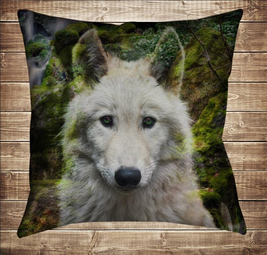 Подушка с 3D принтом Белый волк