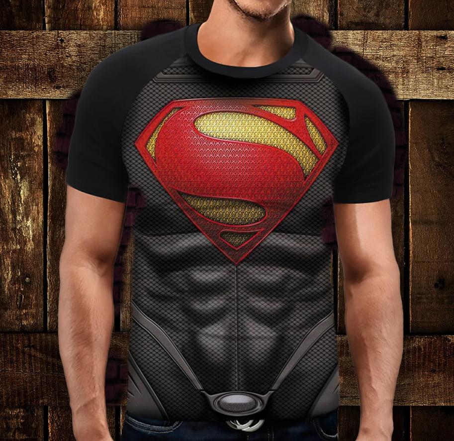 Футболка реглан с 3D принтом Супермен торс броня Взрослые и детские размеры