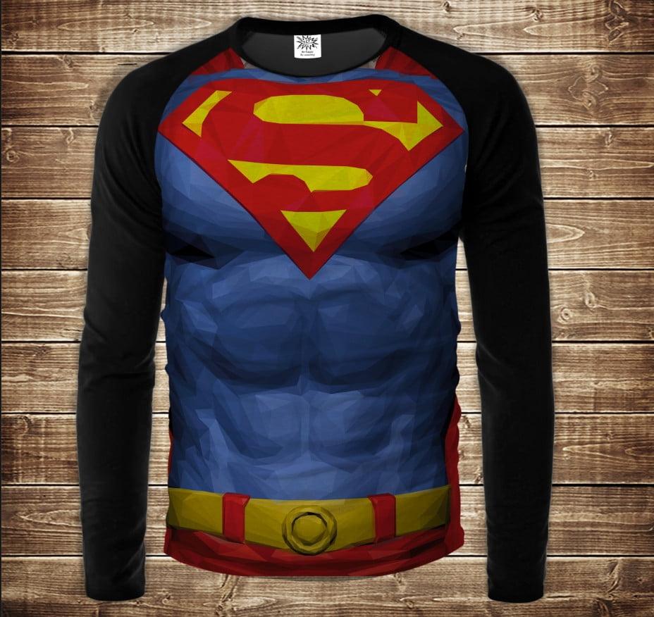 Лонгслив-реглан с 3D принтом Супермен торс синий Взрослые и детские размеры