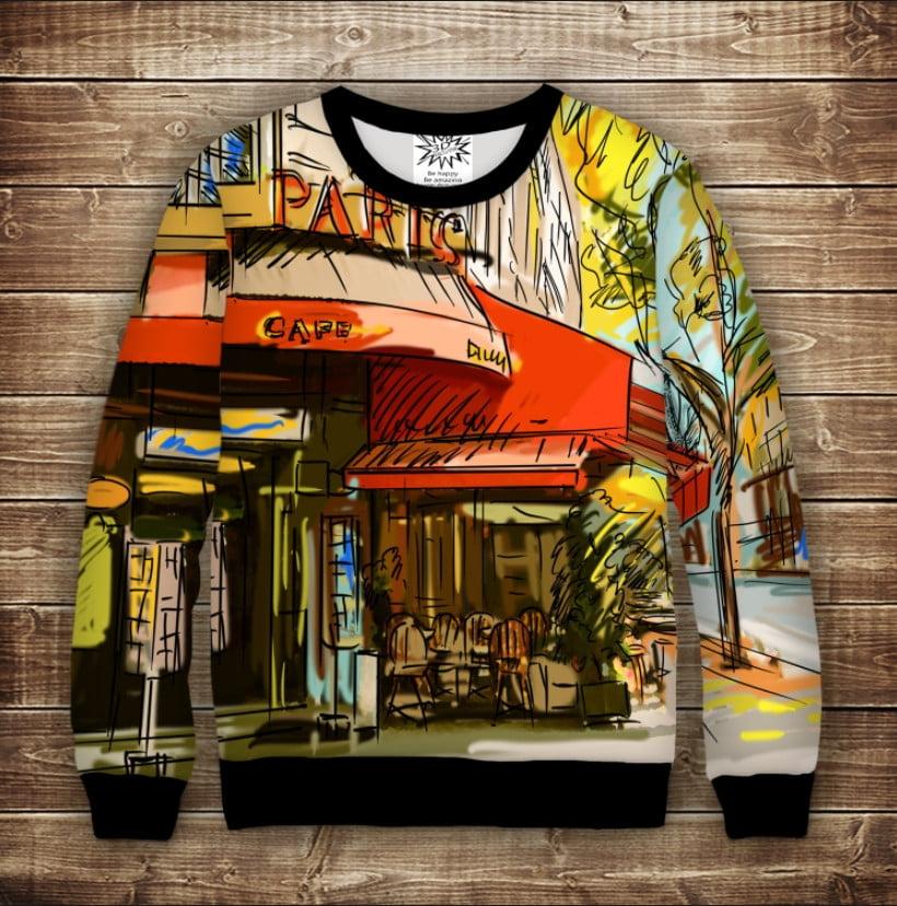 Свитшот с 3D принтом на тему: Кафе на осенней улице  Взрослые и детские размеры
