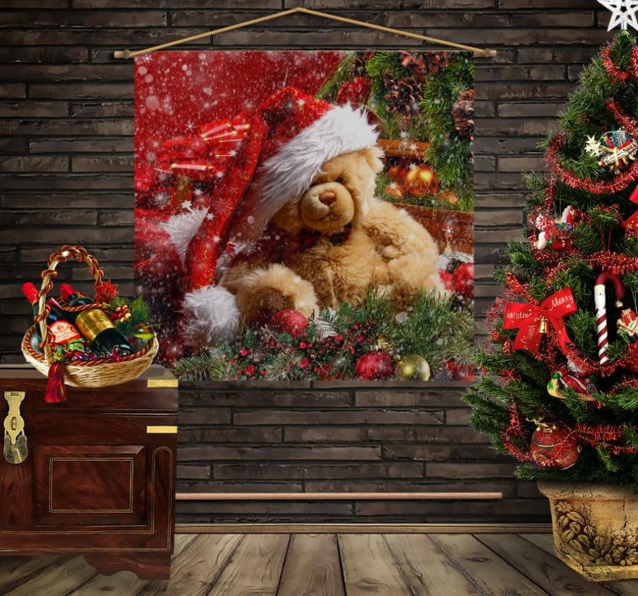 Мобильная картина-постер (гобелен) на ткани с 3D с принтом на тему Рождество. Рождественский мишка Тедди