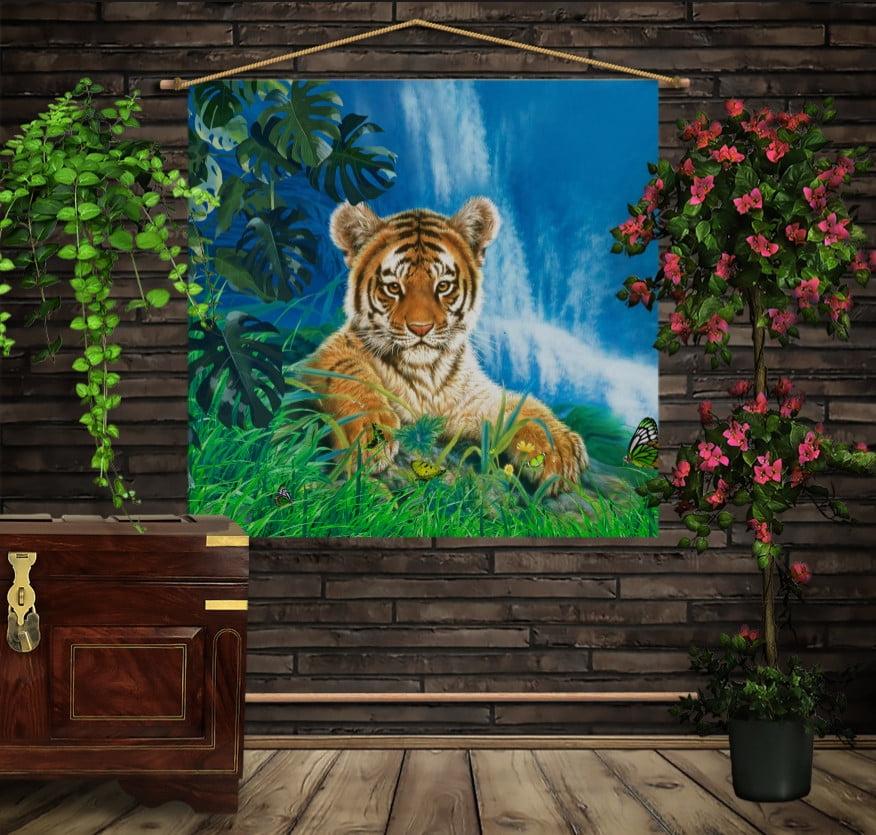 Мобильная картина-постер (гобелен) на ткани с 3D с принтом на тему: Тигр