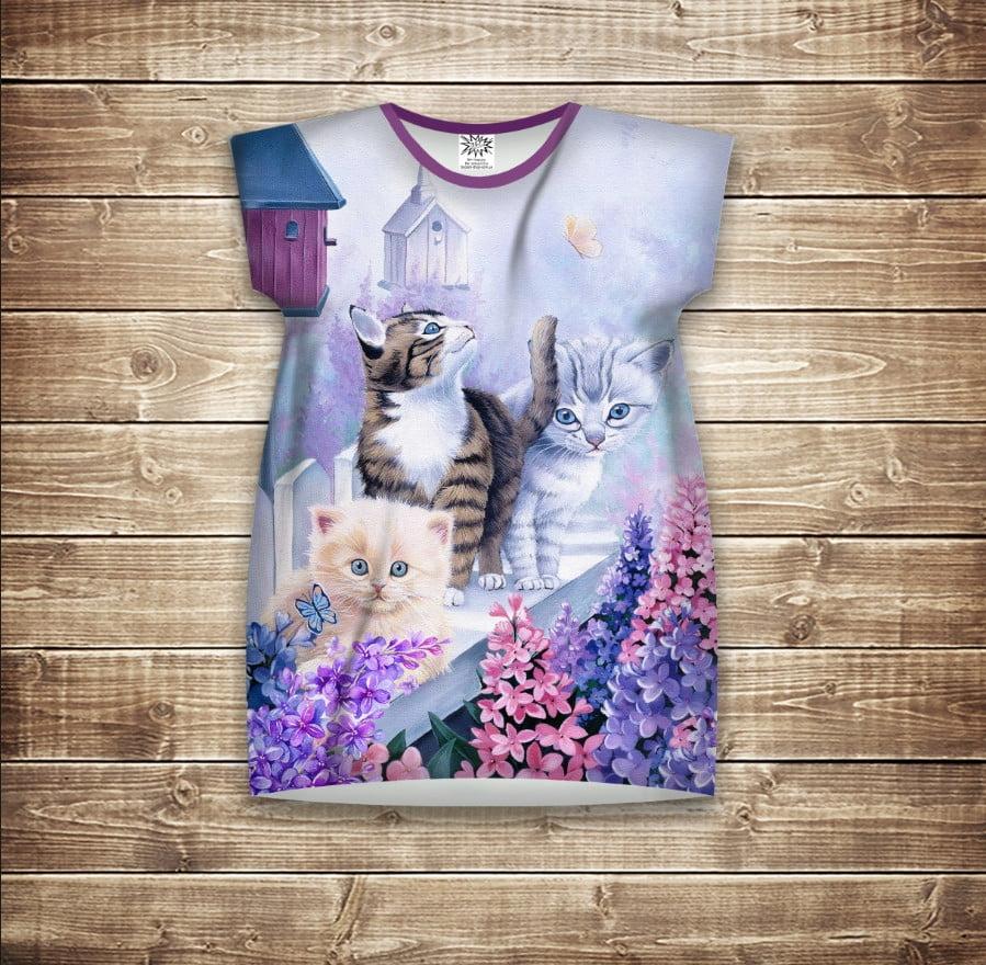 Платье-туника с 3D принтом Котики на заборе с сиренью. Фиолетовый. Взрослые и размер