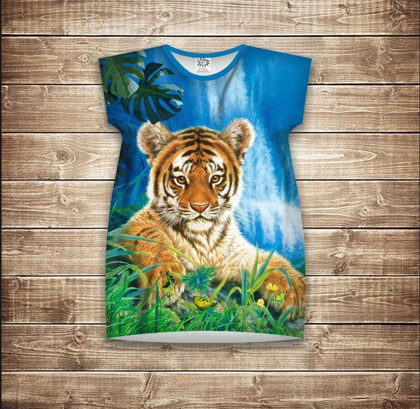 Платье-туника с 3D принтом Тигр