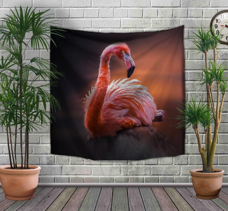 Панно-тапестри(гобелен) с 3D с принтом Фламинго на темном фоне