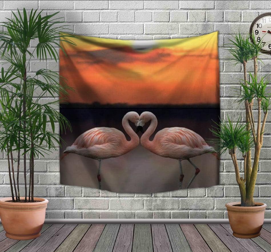 Панно-тапестри(гобелен) с 3D с принтом Розовые фламинго и закат солнца
