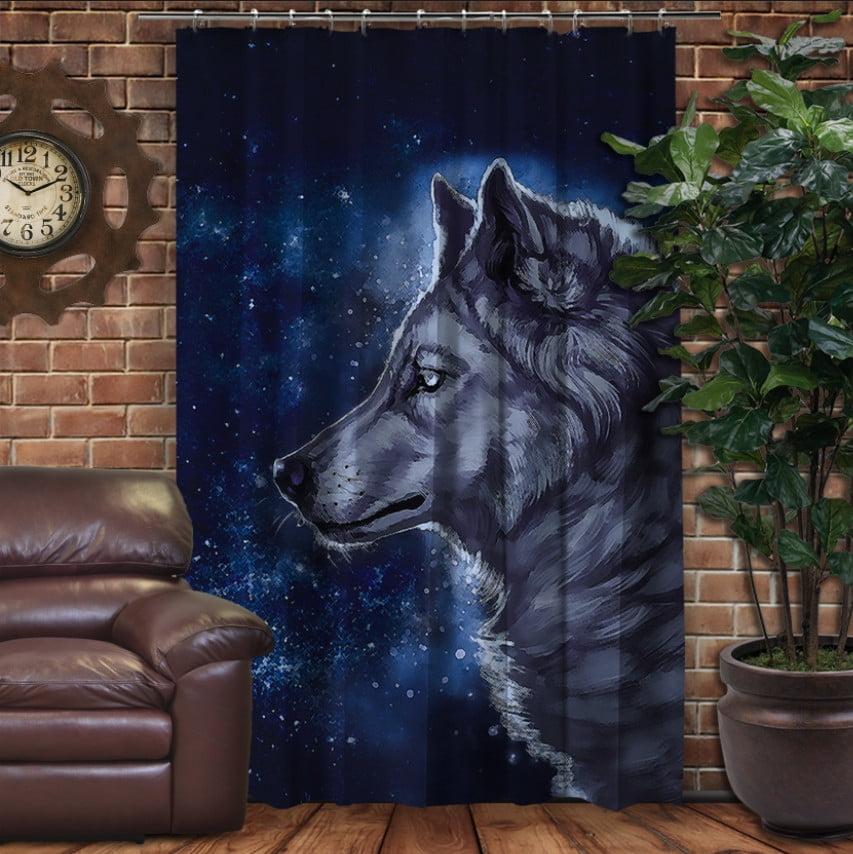 Штора с 3D принтом на тему - Wolf Cosmic
