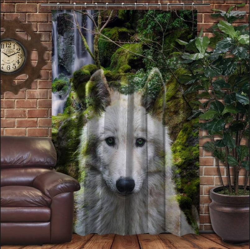 Штора с 3D принтом на тему - Волк и звездное небо