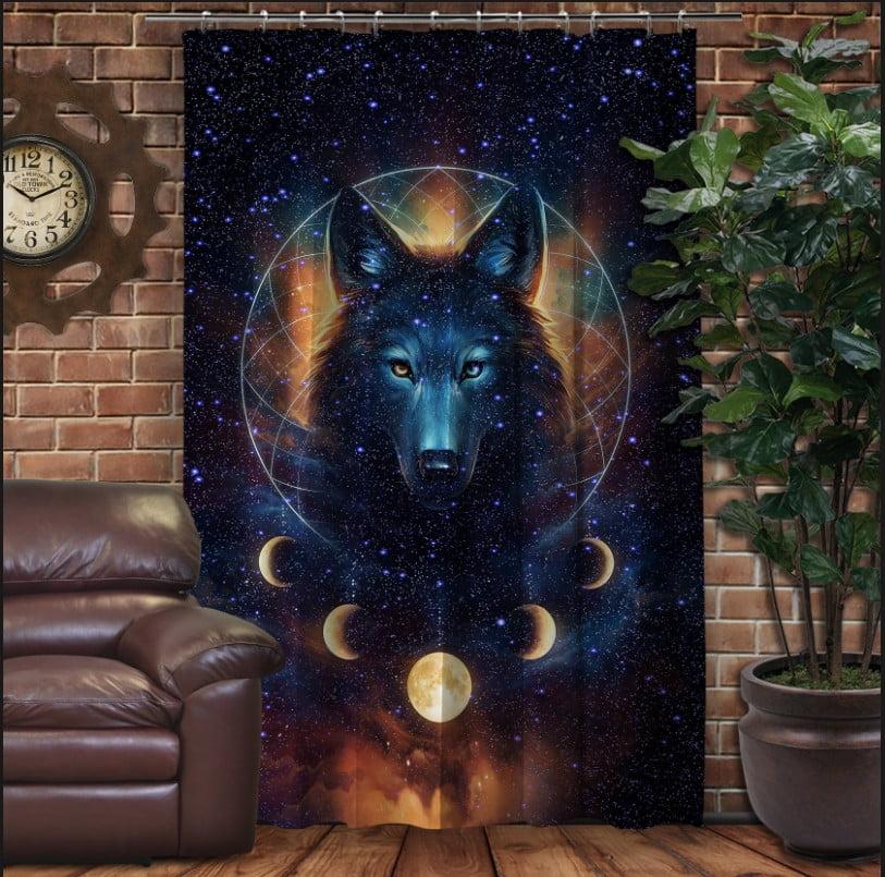 Штора с 3D принтом на тему - Космический волк
