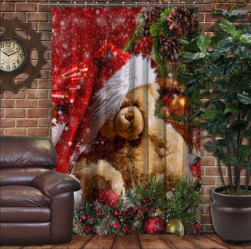 Штора с 3D принтом на тему - Рождественский мишка Тедди