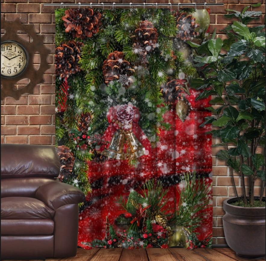 Штора с 3D принтом на тему - Рождественские колокольчики