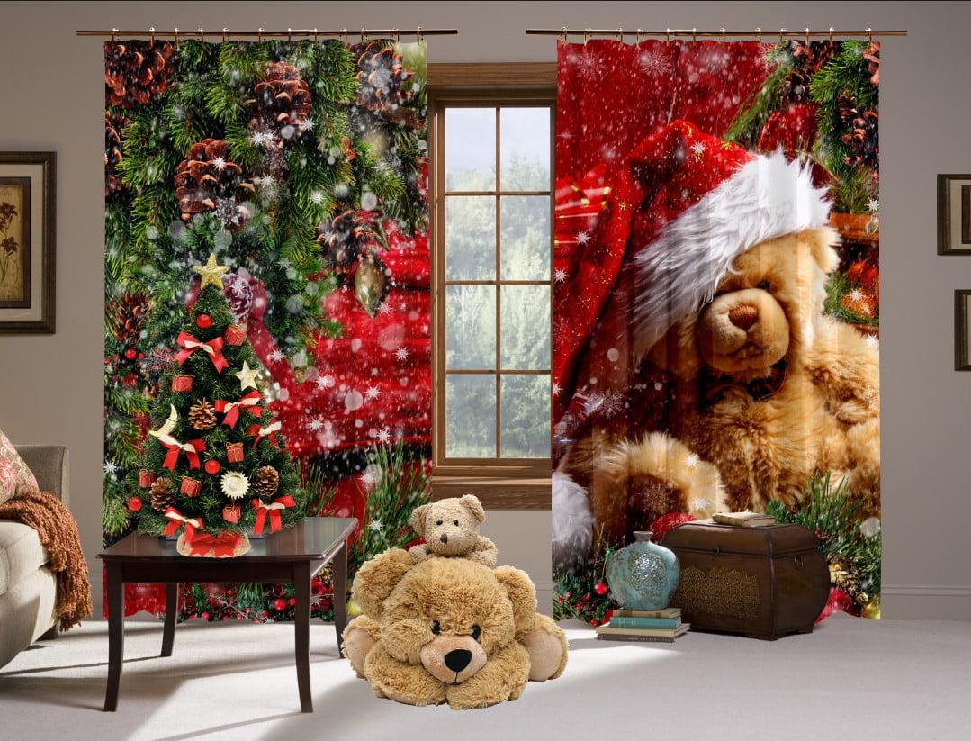 Шторы с 3D принтом на тему: Рождественский мишка Тедди