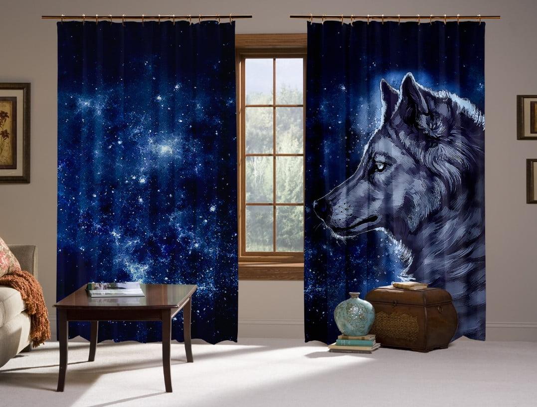 Шторы с 3D принтом на тему: Wolf Cosmic