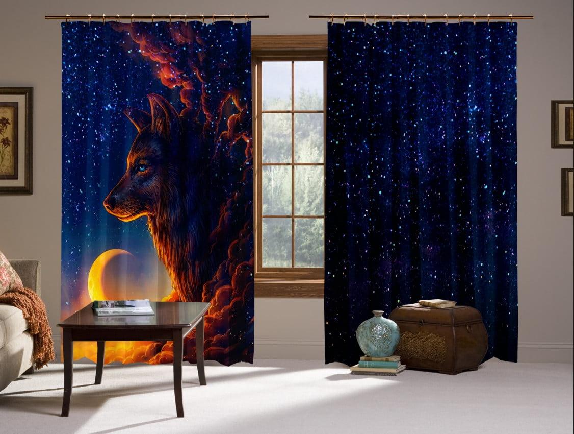 Шторы с 3D принтом на тему: Волк и звездное небо