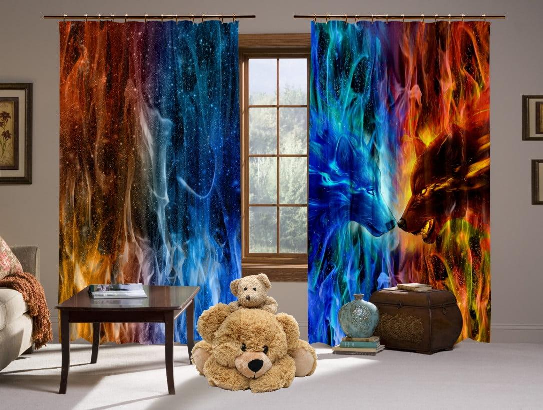 Шторы с 3D принтом на тему: Wolf Colour Fire