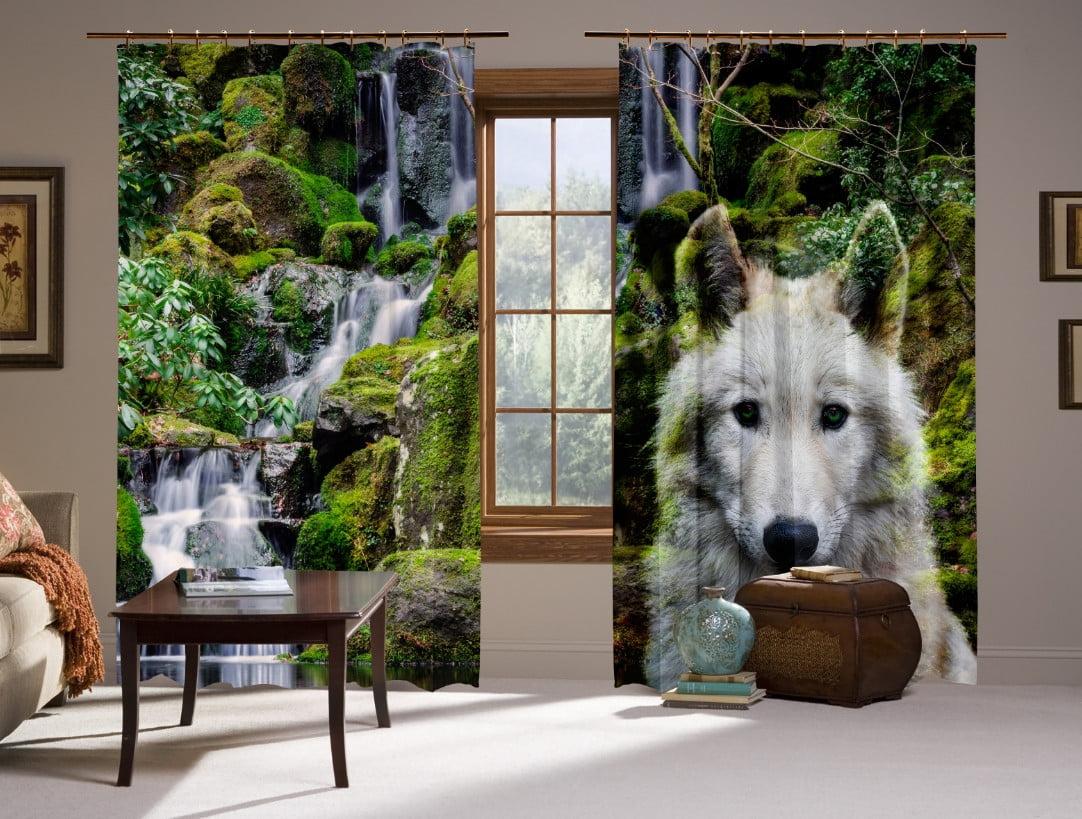 Шторы с 3D принтом на тему: Белый волк