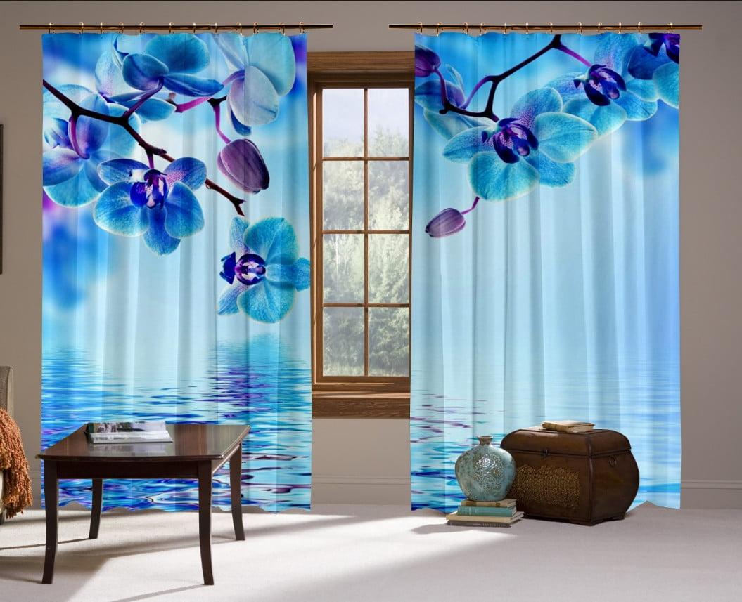Шторы с 3D принтом на тему: Голубые Орхидеи
