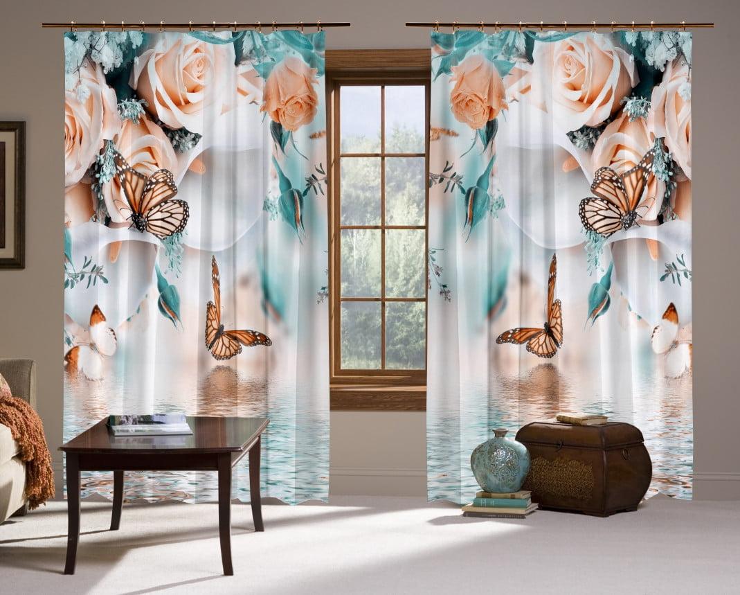 Шторы с 3D принтом на тему: Шторы нежные Розы и бабочки