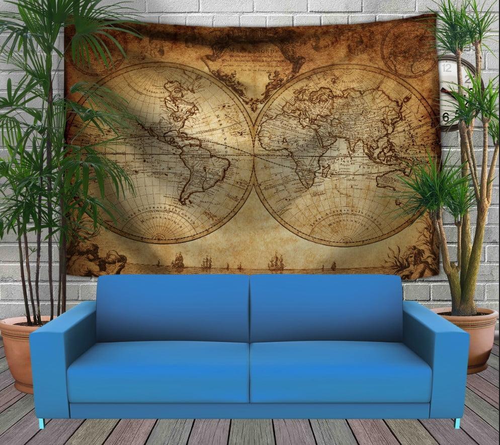 Панно-тапестри (гобелен) с 3D с принтом Винтажная карта мира 240х140 см.