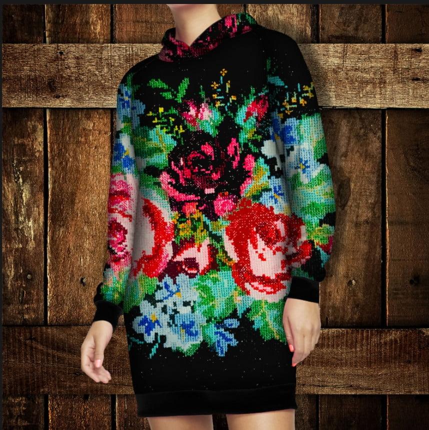 Платье-худи з капюшоном и 3D принтом Бабусини квіти Взрослые и детские размеры