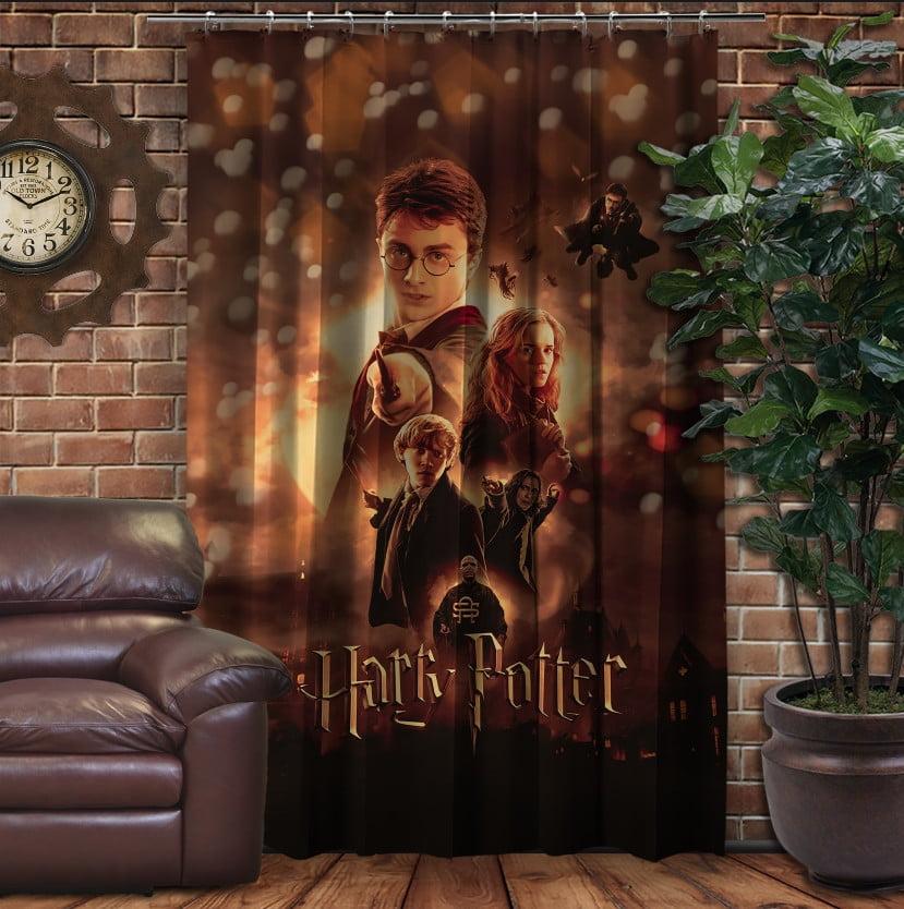 Штора с 3D принтом на тему - Гарри Поттер Огонь и битва